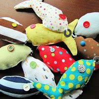 Goin' fishin' game. Use those fabric scraps to make fish, sew metal washers to their mouths, & have kids fish for them with magnets strung to dowel rods. Fun!