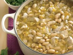 White Chicken Chili - Serve your family with this chicken chili made with Old El Paso® green chiles, Progresso® broth and beans – a tasty Mexican dinner that's ready in 30 minutes.