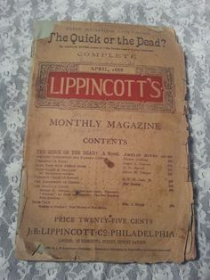 "VINTAGE 1888 LIPPINCOTT'S monthy magazine ""The Quick or the Dead?"""