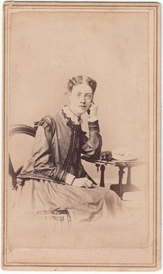 CDV Civil War Era Lady in Checked Jacket, Hat on Table by Forshew of Hudson, NY