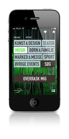 Eksempel på app til Øresundskomiteen. Der er tale om en kulturapp, der formidler events i Malmø og København.