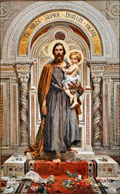 St Joseph w Jesus St Joseph Catholic, Catholic Art, Catholic Saints, Religious Art, Catholic Doctrine, Catholic Pictures, Jesus Pictures, Catholic Wallpaper, Religion