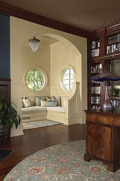 Traditional Home Office Photos Seating Nook Round Windows Design...perfect!
