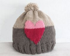KNITTING PATTERN - Sweet Heart Hat (child- adult sizes) PDF