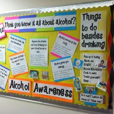 Alcohol awareness passive programming board at Mount St. Mary's College.