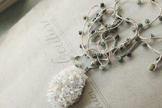 stone beads crochet necklace