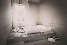 PERŁA BREWERY APARTMENTS | minimal grey bedroom, hotel room, bed niche, felt