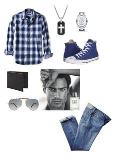 """Untitled #348"" by jollyranchersforeverhashtagblue ❤ liked on Polyvore featuring Banana Republic, Converse, Movado, David Yurman, Jack Spade, Ray-Ban, Giorgio Armani, men's fashion and menswear"