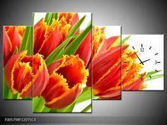 Obrazy - Kvety - Štvordielny 120x75 cm s hodinami ve 4.dielu - TopObrazy.sk
