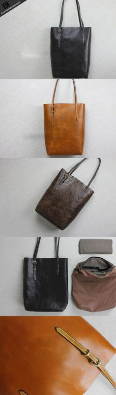 Handmade leather tote bags black brown shoulder bag with detachable inner