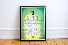 Gemini - Zodiac Star Sign Typography Print - Colourful - Birthday - Starsigns - Birthdate - Astrology - Horoscopes - Star-signs by HarknettPrints on Etsy https://www.etsy.com/listing/286174657/gemini-zodiac-star-sign-typography-print