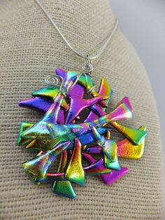 Abstract Design in Bright Colours - Dichroic Glass Pendant w Wire Wrap Setting…