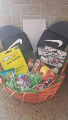 Teen boy gift basket would be a cute easter basket for little boy teen boys easter basket negle Choice Image