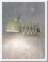 Industriële vintage schaarlamp wandlamp industrieel retro jaren 30 40, scissor lamp industrial