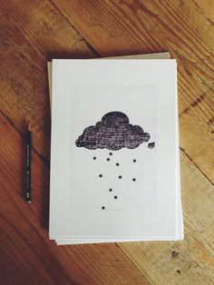A4 Stargazer cloud print raining stars pencil by Hyshil on Etsy, €20.00