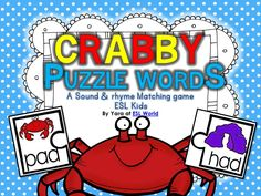 Most Popular Teaching Resources: Crabby Puzzle Words {CVC word sound matching game}...