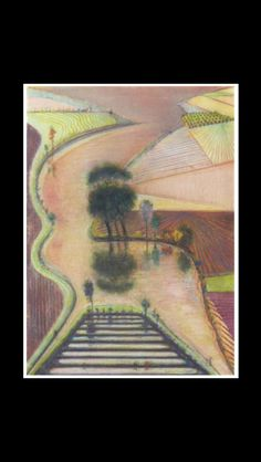 "Wayne Thiebaud - "" Delta "", 1998 - Pastel and graphite on paper - 79,3 x 57,1 cm"