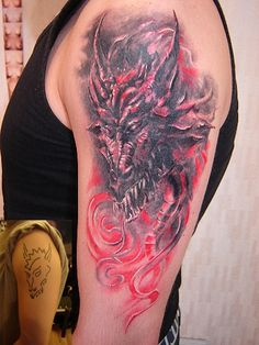 Cool shoulder tattoo of scary dragon with red smoke near him - Dragon ...