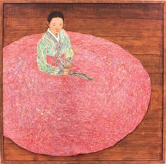 A woman in Korean hanbok. ARTSingapore 2010 - The Contemporary Asian Art Fair - Visitors
