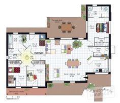 Plan habillé Rdc - maison - Maison à l'architecture bioclimatique
