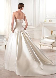 Charming Satin A-line Strapless Neckline Natural Waistline Wedding Dress