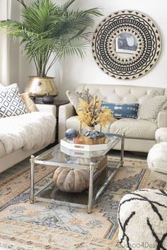 Decorating for fall with area rugs | Cuckoo4Design Cozy Home Decorating, Thrift Shop Finds, Plant Lighting, Wooden Staircases, Yellow Leaves, Getting Cozy, Small Rugs, Hanging Planters, Autumn Home