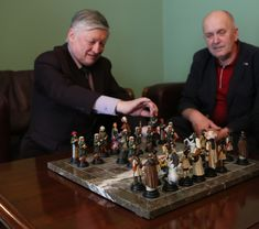 A.Karpov playing Handmade Chess set, hand painted, pewter chess set