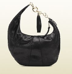 Gucci - 'sienna' medium hobo with horsebit hook, metal chain, and tassel.