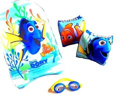 "She's finally HERE! Finding Dory is reaching theaters near you, now let your kids bring her to the beach or pool! They'll experience the magic of Disney Pixar with their set of matching boogie board, arm floats, and goggles. Swim safe, and like Dory says ""just keep swimming!""."