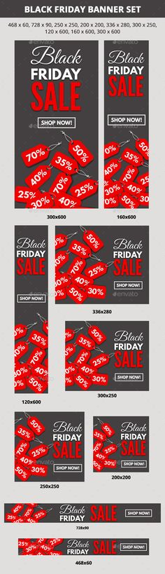 Black Friday Sale Web Banner Set Template PSD #design #ads Download: http://graphicriver.net/item/black-friday-sale-banner-set/13469548?ref=ksioks