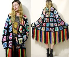 Crochet GRANNY SQUARE Cardigan Colourful Rainbow / by cruxandcrow