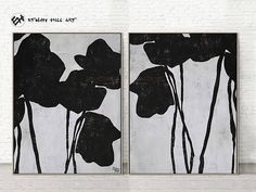 Abstract Painting Original Art Large Paintings on Canvas, Black and White Set of 2 Flower Painting- Ethan Hill Art No.P46