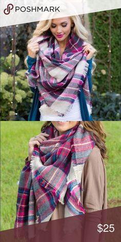❣20% OFF BUNDLES❣PINK PLAID BLANKET SCARF Pink tartan plaid blanket scarf. Accessories Scarves & Wraps