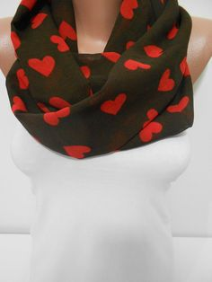 Valentines Day Gift Scarf Red Heart Infinity Scarf by ScarfClub, $16.90