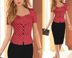 - Vintage pinup trendy wiggle office dress for the modern woman - Comes with top and bottom for a complete stylish look - Great for the working woman or a casual day out - Available in 2 colors MásNew 2015 Women Work Wear,vestidos de fiesta Button E Blazer Outfits Casual, Blazer Outfits For Women, Casual Jeans, Elegant Summer Dresses, Summer Work Outfits, Office Dresses, Work Dresses, Women's Dresses, Party Dresses