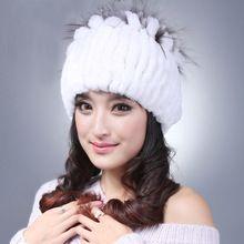 53cdcc066c3 Hot Sale Women Beanie Winter Handmade Stripes Real Rex Rabbit Fur Hat Women  Fur Hats Warm Soft Female Caps Winter-in Skullies   Beanies from Women s ...