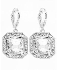439653 Rhodiumized / Clear Glass & Rhinestone / Lead&nickel Compliant / Dangle / Lever Back Earring Set