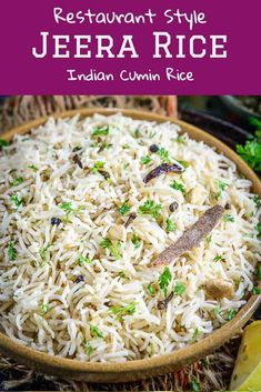 Jeera Rice is an Indian style Rice dish flavoured with cumin. This Indian restaurant style rice recipe goes very well with indian curries and lentils. Here is how to make Jeera Rice which is just perfect with each grain separate. Fried Fish Recipes, Veg Recipes, Curry Recipes, Indian Food Recipes, Cooking Recipes, Easy Indian Vegetarian Recipes, Authentic Indian Recipes, Vegetarian Dinners, Cooking Tips