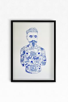 'Tat Man' Blue A3 Risograph, edition of 500 Printed on 170 gsm Munken (backed with mount card & cello wrapped, posted flat) 29.7cm x 42...