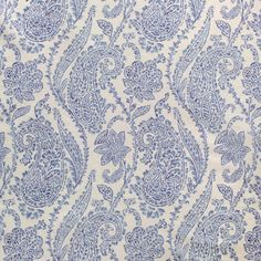 Scalamandre paisley blue fabric: Lillian 16522 - 002. $98.95 This #paisley #scalamandre fabric and many more fabrics, trims, and wallpapers are available for the guaranteed lowest price online at Designerfabricsusa.com