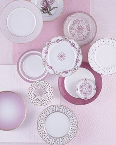 Pink China: Pink china is both feminine and romantic, and even more interesting (and eclectic) when pulled together with several different patterns such as these.