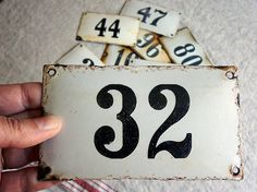 vintage enamel house number 32 from Europe, at AtticAntics, $25.00