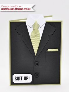 """""""Suit Up"""" Masculine Card (Splotch Design - Jacquii McLeay Independent Stampin'…"""