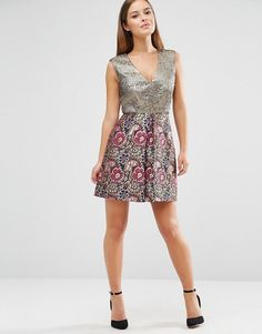 ASOS Petite | ASOS PETITE A-line Mini Dress in Mixed Floral Metallic Jacquard