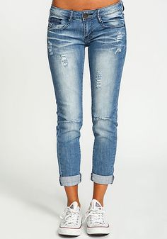 Distressed Cuffed Skinny Jeans
