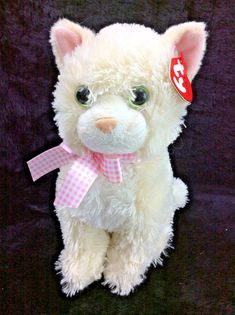 31f12f0ec7e Ty Champagne Kitty Cat Off White Classic Beanie Full Size 2009 Tags  Ty Ty  Plush