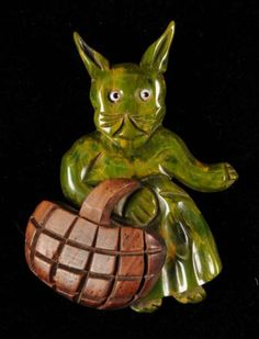 Bakelite Jewelry Price Guide: End of Day Rabbit with Wooden Basket Pin