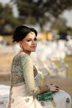 Jade blouse with pale mint saree and crushed mother of pearl detailing