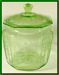 Green Depression Glass Cookie Jar  with Lid- Anchor Hocking Glass Princess Pattern