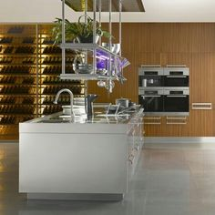 Kitchen suspended island shelving
